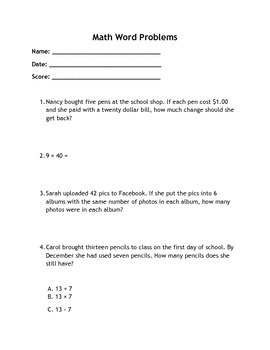 Addition, Subtraction, Multiplication and Division Word Problems