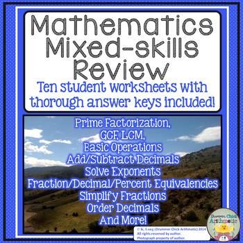 Math Mixed Skills Review Worksheets Ten Pages Plus Answer Keys