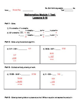 Math Module 1: End of Unit Assessment