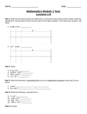 Math Module 1: Mid Unit Assessment