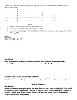 Math Module 4 Grade 5 Bell Ringer and Exit Tickets