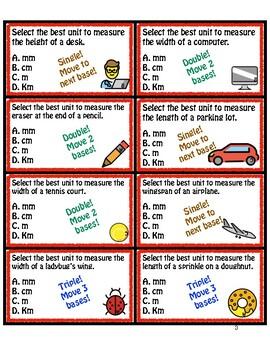 Math Moji Baseball Card Game!  - Measurement: Select best Standard Unit (Metric)