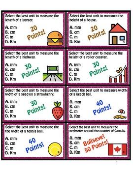 Math Moji Darts Card Game! - Measurement: Select the best Standard Unit (Metric)