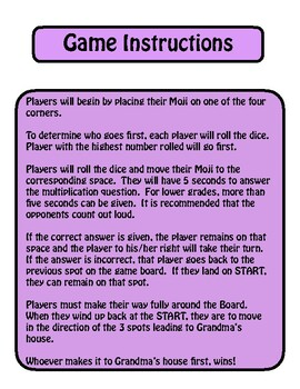 Math Moji: Division Board Game