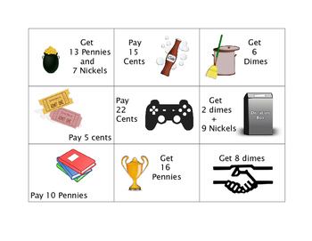 Math Money Game Cards