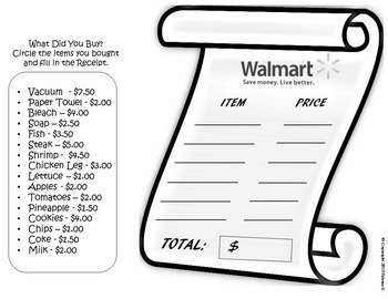 Math Money Project Grocery Shopping at Walmart Real World Activity Decimals