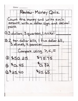 Money: Addition and Subtraction with Word Problems Quiz