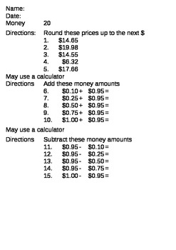 Math Money Skills - add, subtract, round