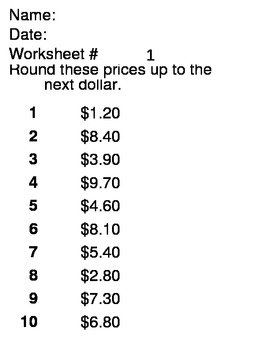 Math Money Skills - rounding to the next dollar