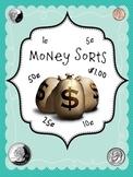 Math Money Sorts 5-10-25-50 cents and 1 dollar Center