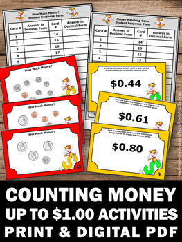 Counting Money Task Cards, Coins Worksheets, 1st Grade Math Review Games