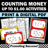 Counting Money Task Cards and Worksheets up to $1.00 Coins