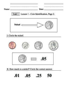 Coin Identification - Unit 1: Lesson worksheets, Math, Money, Life skills
