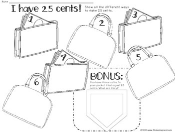 Math: Money: Ways to make 25 Cents