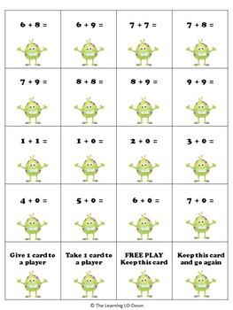 Math Monster Addition Game with Basic Facts