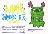 Math Monster Award
