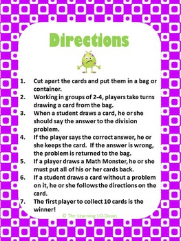 Math Monster Division Game with Basic Facts
