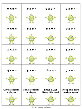 Math Monster Multiplication Game with Basic Facts