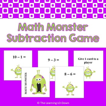 Math Monster Subtraction Game with Basic Facts