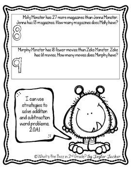 Math Monster Word Problem Freebie