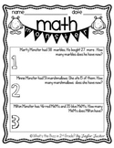 Math Monster Word Problem Freebie