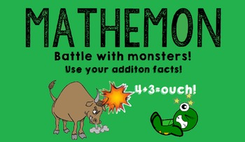 Mathemon - Addition Fact Fluency Card Game (Like Pokemon)