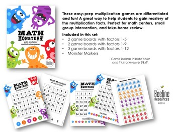 Math Monsters! Multiplication Games / 3 Levels *7 Print-and-Play Game Boards*