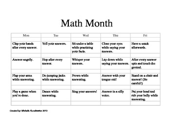Math Month Fluency Activity