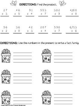 Math Monthly Skills Packet - December Grade 4