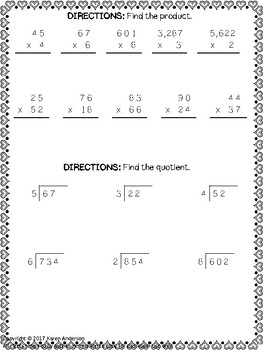 Math Monthly Skills Packet - February Grade 4