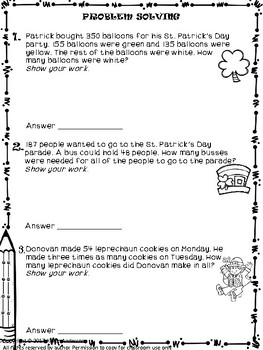 Math Monthly Skills Packet - March Grade 4