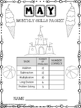 Math Monthly Skills Packet - May Grade 4