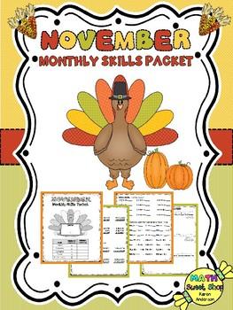 Math Monthly Skills Packet - November Grade 4