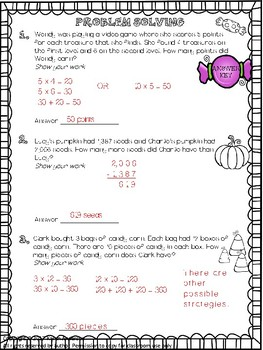 Math Monthly Skills Packet - October Grade 4