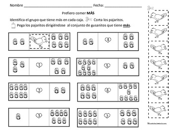 Counting 1-10 & More/Greater Than Act. Worksheets Eng & Spanish (12 sheets)