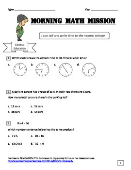 Math Morning Missions - 5 questions for math practice