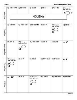 Math Morning Work - 1st Nine Weeks