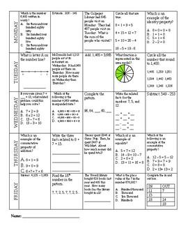 Math Morning Work 2