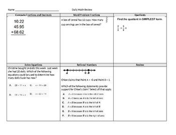 Math Morning Work
