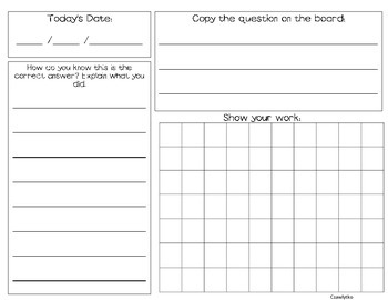 Math Morning Work Booklet