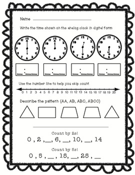 Math Morning Work Freebie!