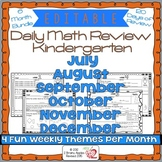 Math Morning Work Kindergarten Bundle Editable, Spiral Rev