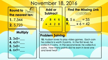 Math Morning Work: Spiral Review and PROJECTABLE