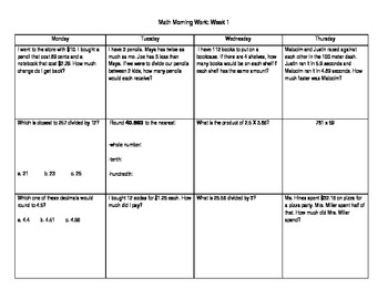 Math Morning Work Packet (Weeks 1-3)