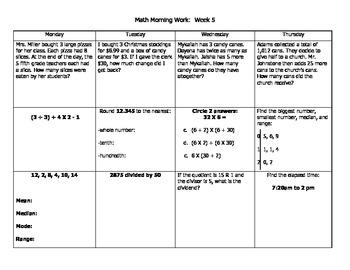 Math Morning Work Packet (Weeks 4-6)
