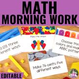 Math Morning Work Task Cards EDITABLE