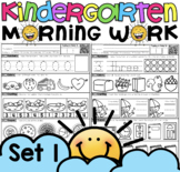 Math Morning Work for Kindergarten Set One with counting, shapes, time & more!