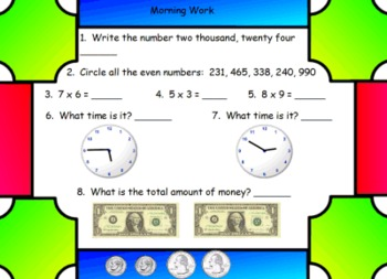 Math Morning Work for SMART Board - 25 Pages for 25 Days