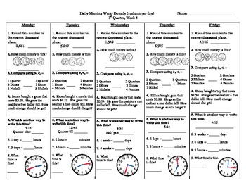 Math Morning Work for the ENTIRE YEAR!  36 worksheets- each sheet lasts 1 week
