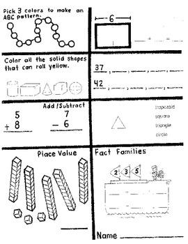 Math Morning work for 1st graders